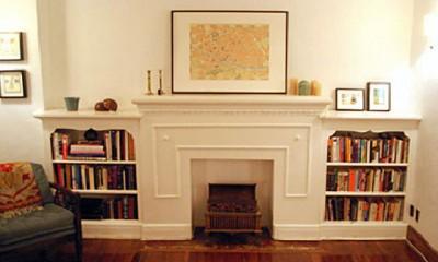 chimenea falsa con libreria